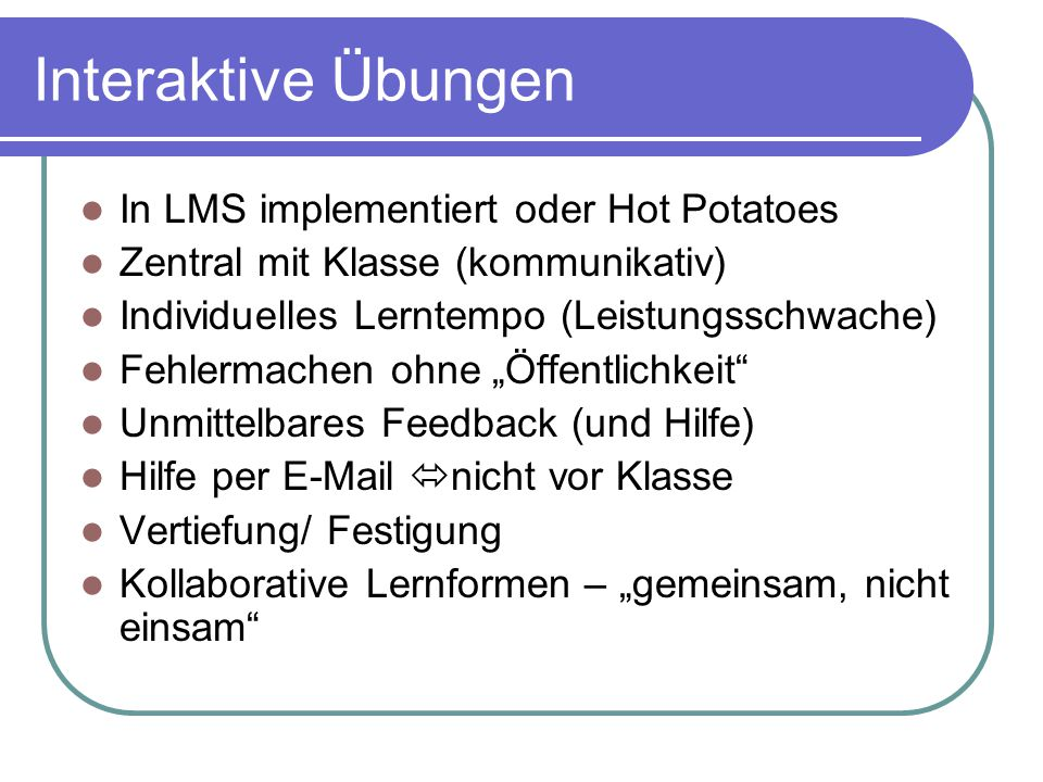 Interaktive Übungen In LMS implementiert oder Hot Potatoes