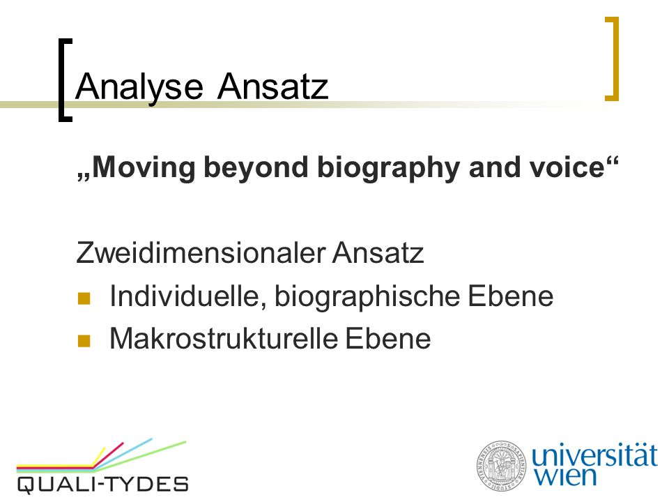"Analyse Ansatz ""Moving beyond biography and voice"
