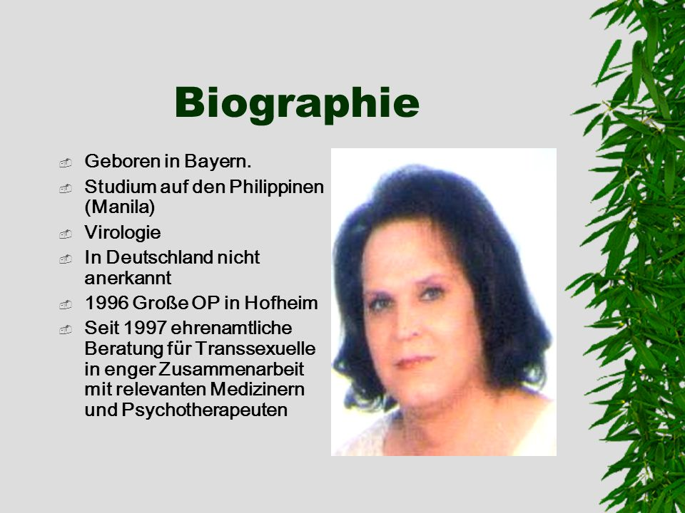 Biographie Geboren in Bayern. Studium auf den Philippinen (Manila)