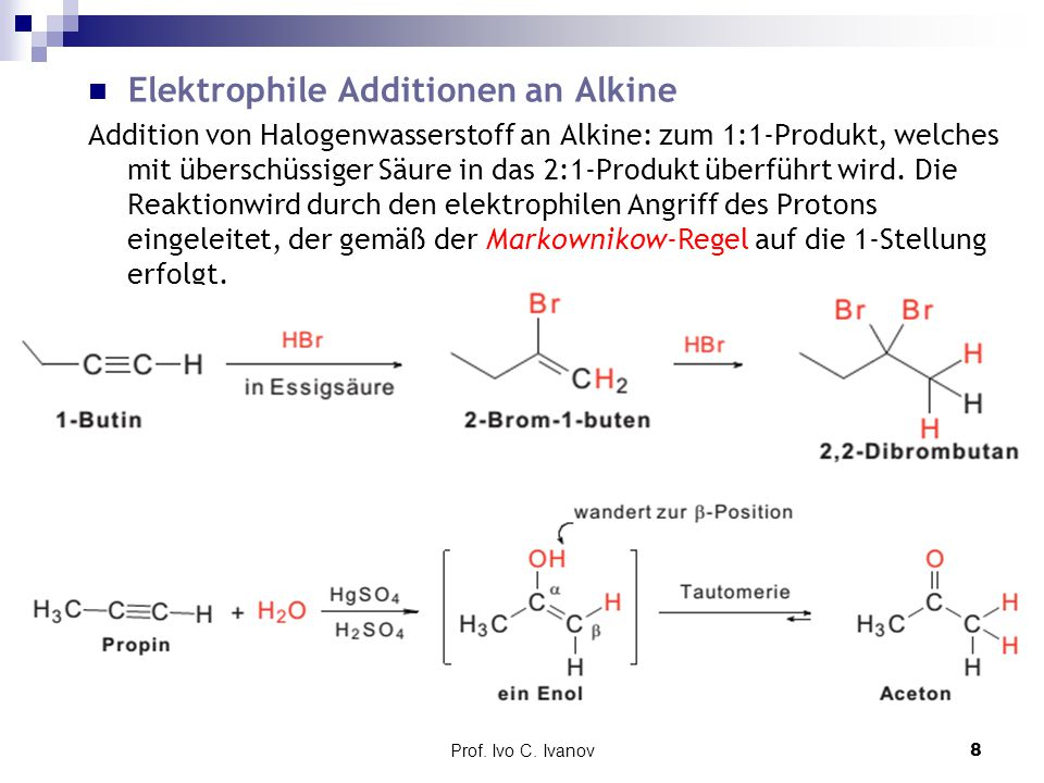 Elektrophile Additionen an Alkine