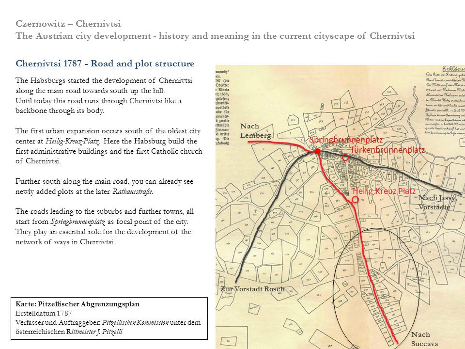 Chernivtsi 1787 - Road and plot structure