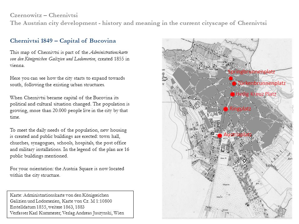 Czernowitz – Chernivtsi The Austrian city development