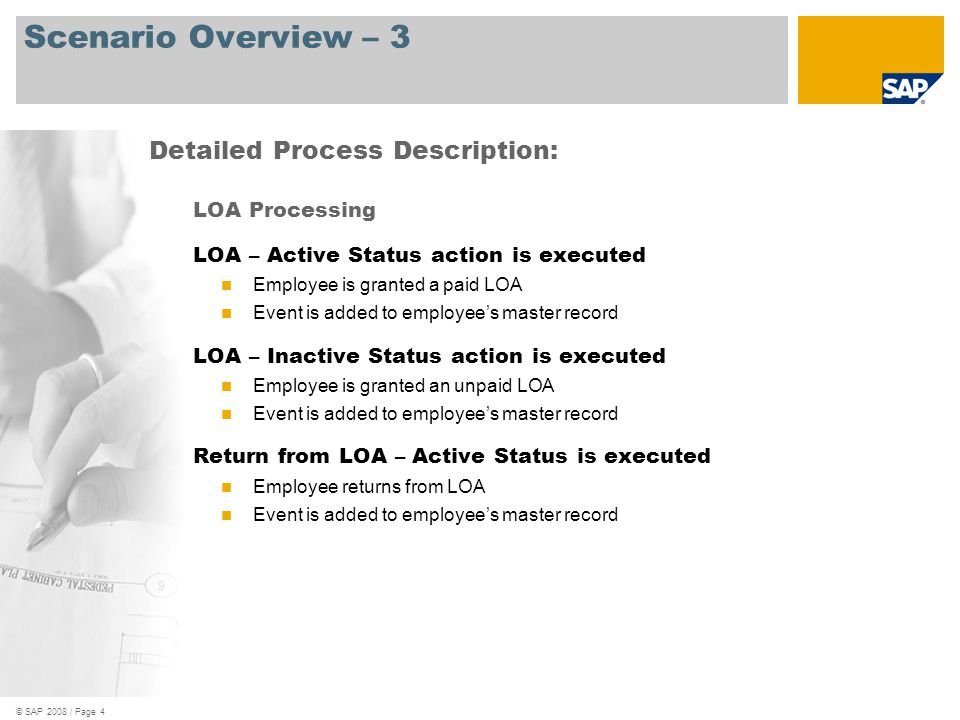 Scenario Overview – 3 Detailed Process Description: LOA Processing