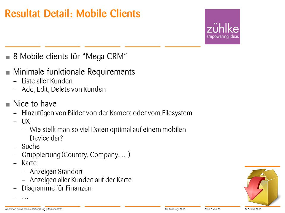 Resultat Detail: Mobile Clients