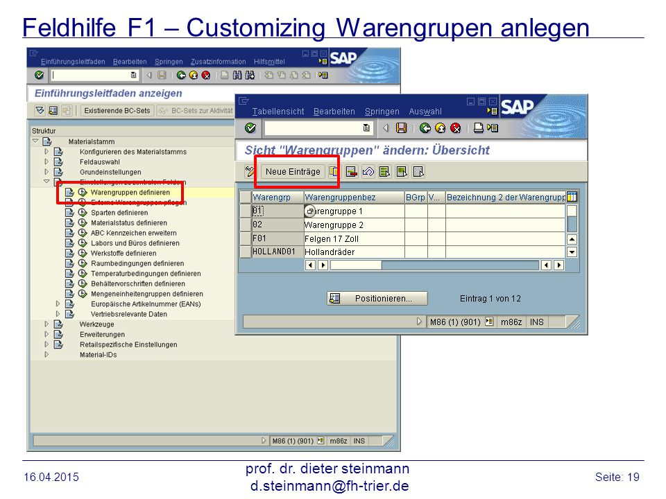 Feldhilfe F1 – Customizing Warengrupen anlegen