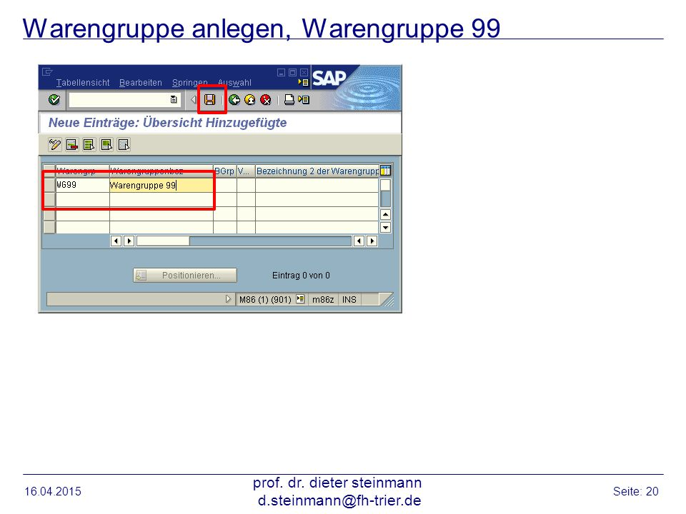 Warengruppe anlegen, Warengruppe 99