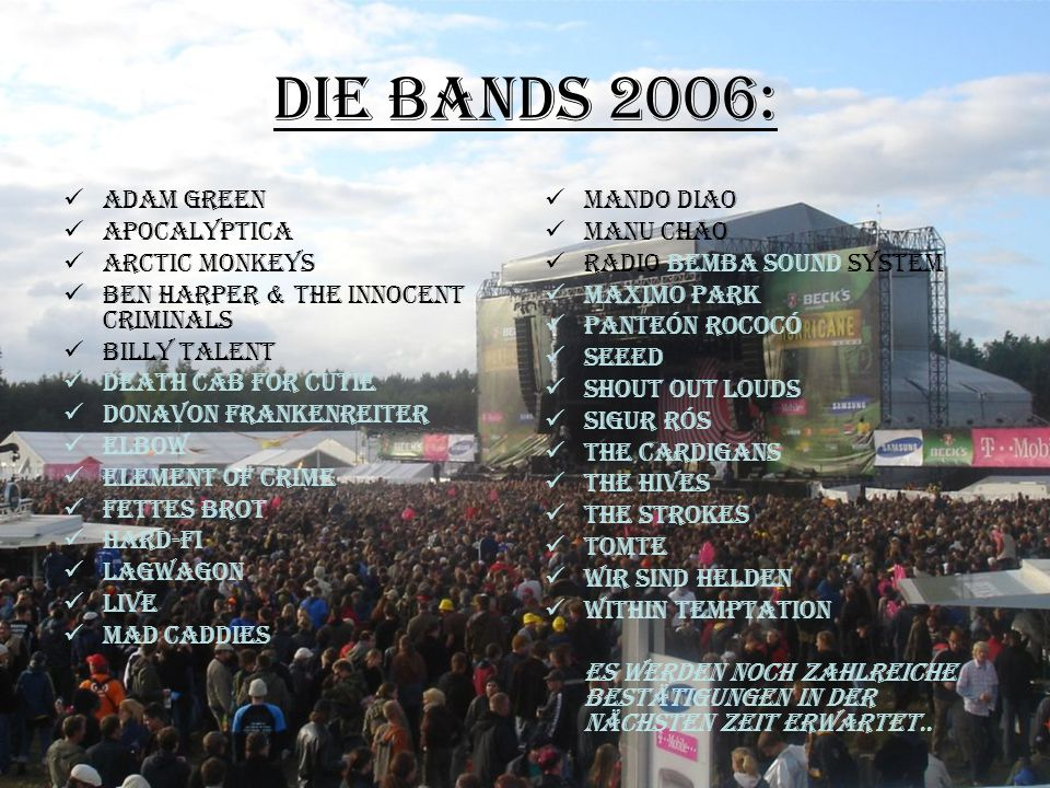 Die Bands 2006: Adam Green Apocalyptica Arctic Monkeys