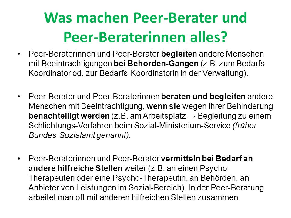 Was machen Peer-Berater und Peer-Beraterinnen alles