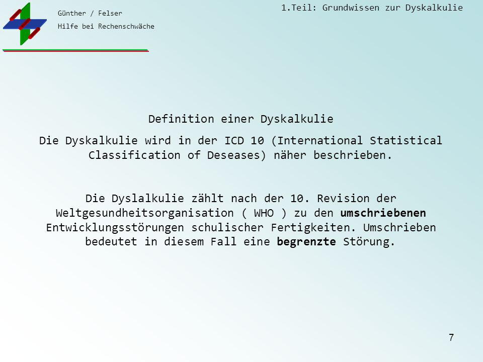 Definition einer Dyskalkulie
