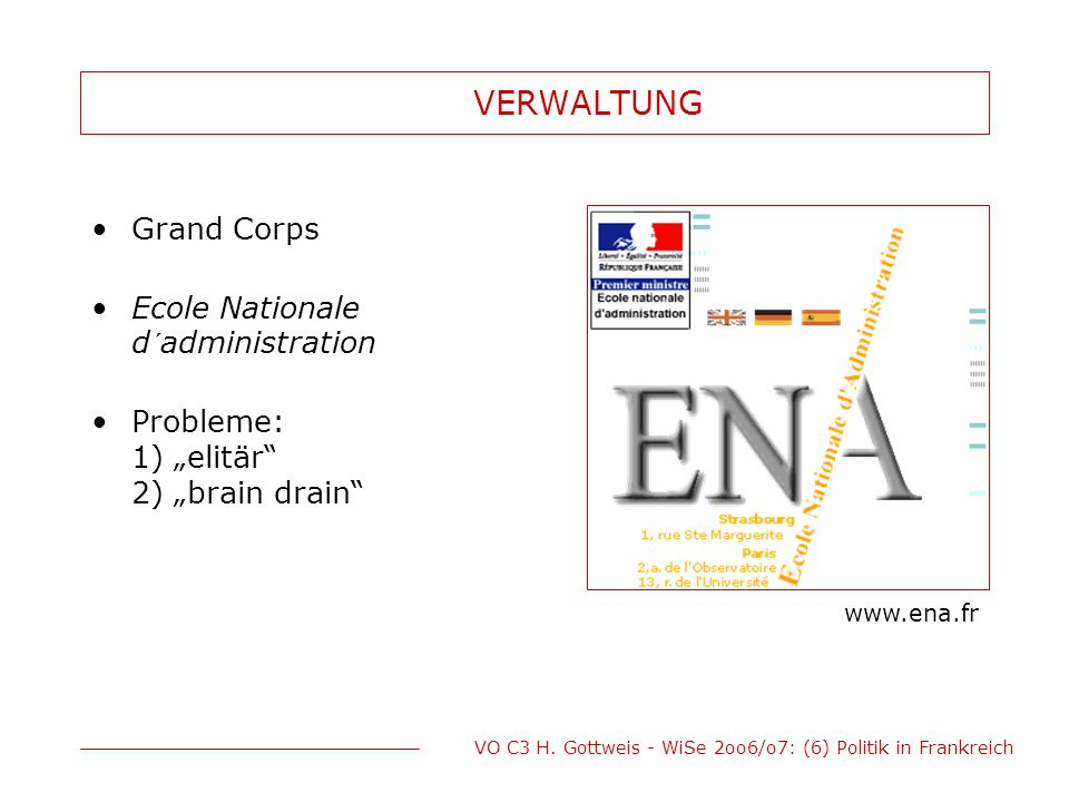 VERWALTUNG Grand Corps Ecole Nationale d´administration