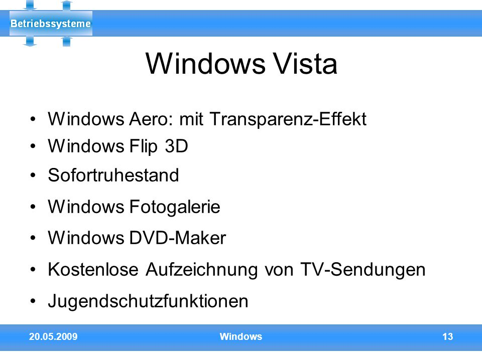 Windows Vista Windows Aero: mit Transparenz-Effekt Windows Flip 3D