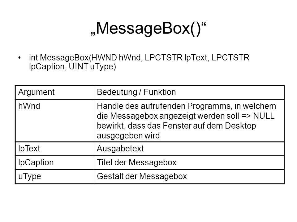"""MessageBox() int MessageBox(HWND hWnd, LPCTSTR lpText, LPCTSTR lpCaption, UINT uType) Argument. Bedeutung / Funktion."