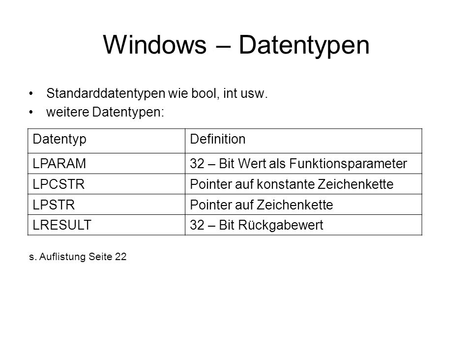 Windows – Datentypen Standarddatentypen wie bool, int usw.