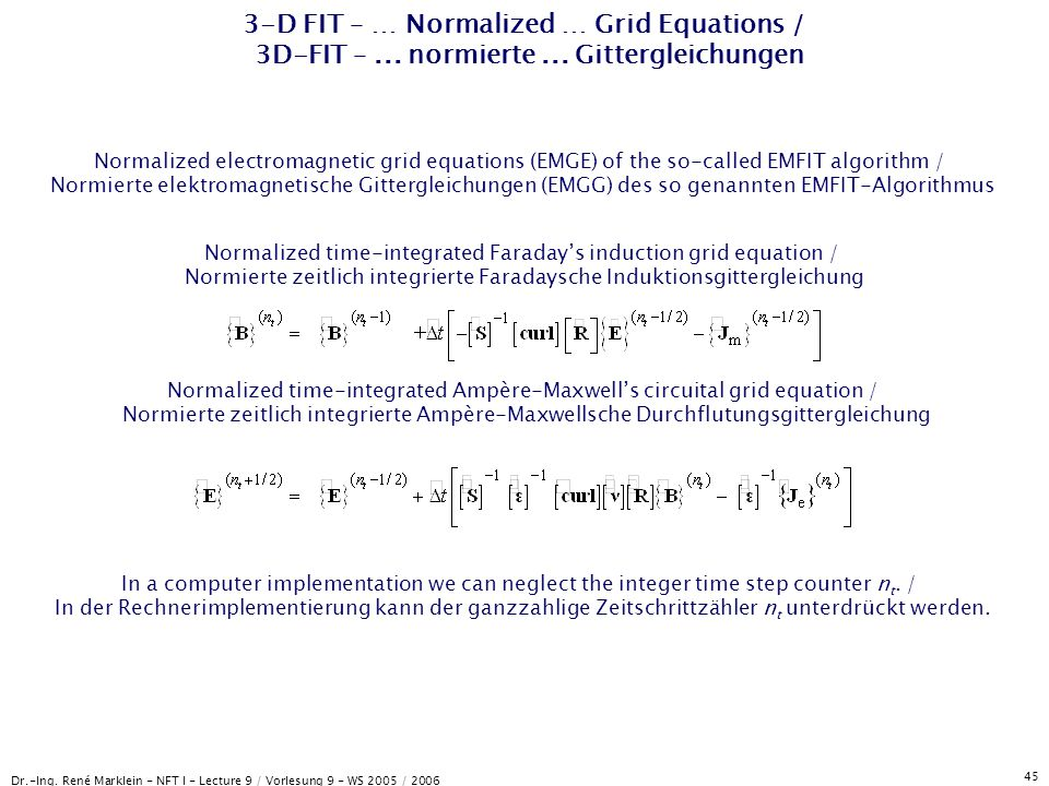 3-D FIT – … Normalized … Grid Equations / 3D-FIT –. normierte