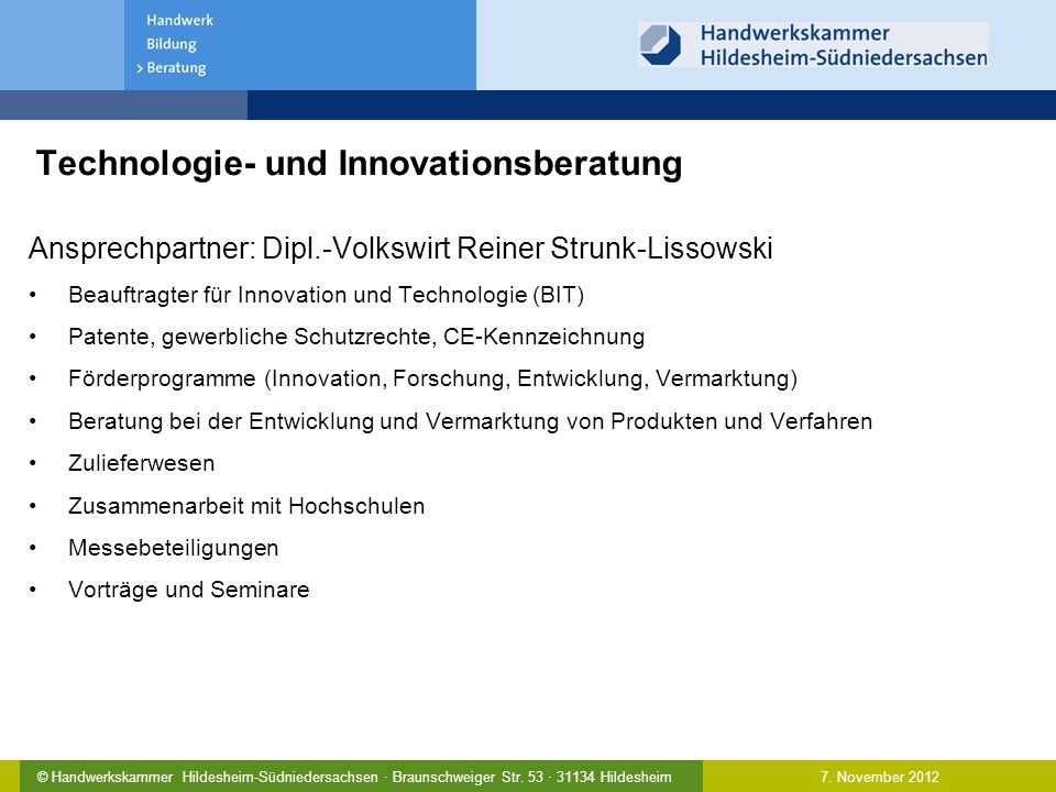 Technologie- und Innovationsberatung