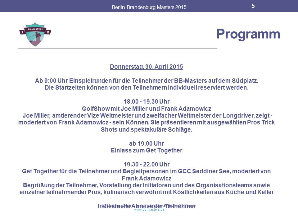 Programm Donnerstag, 30. April 2015