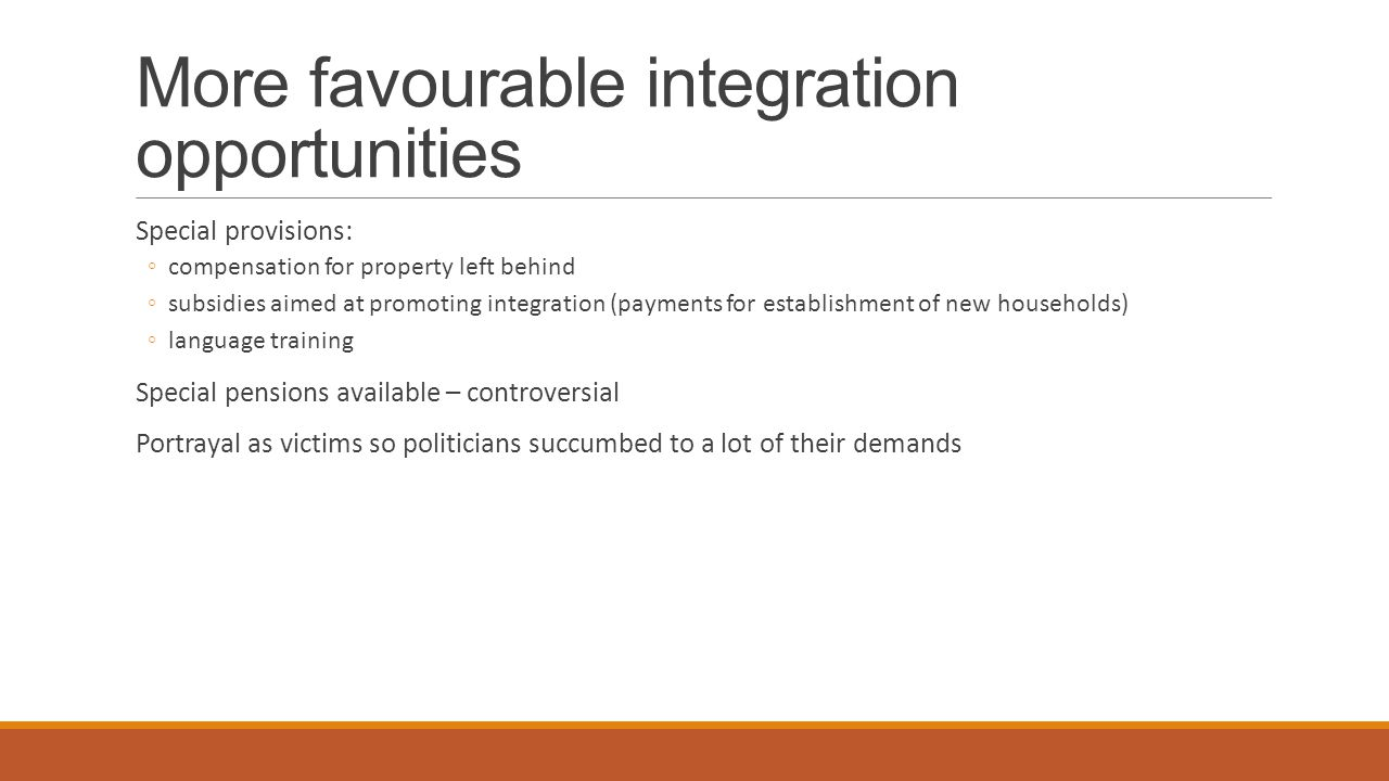 More favourable integration opportunities