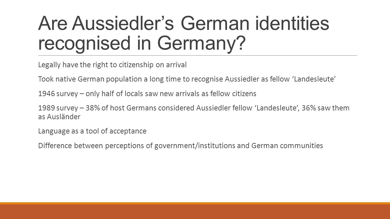 Are Aussiedler's German identities recognised in Germany
