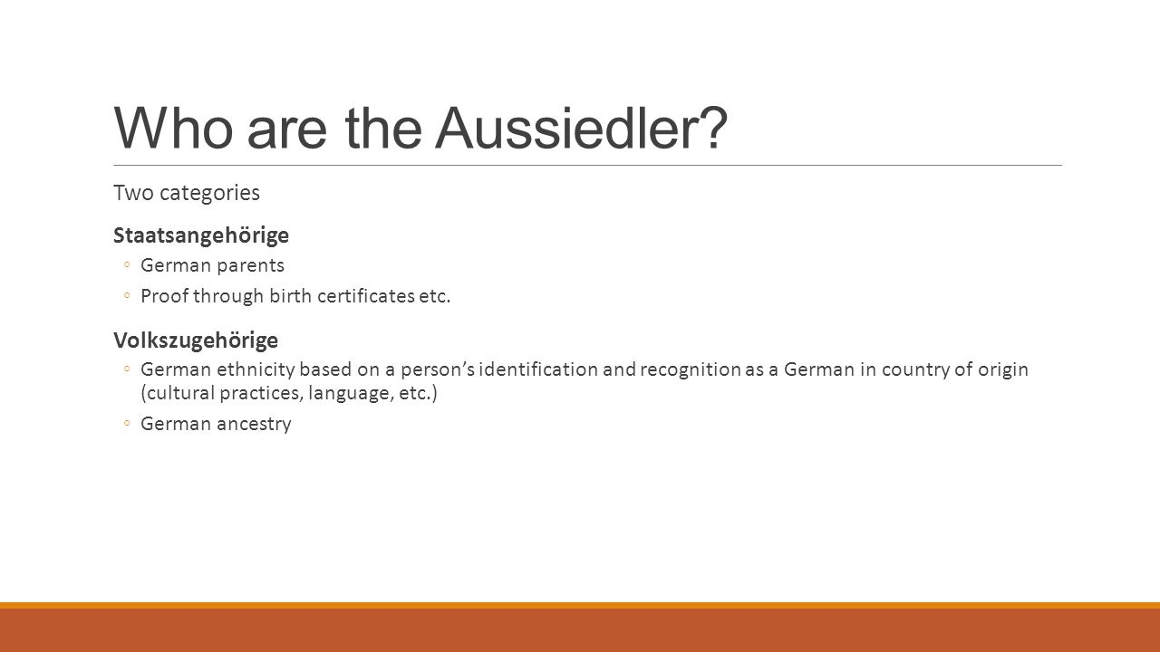 Who are the Aussiedler Two categories Staatsangehörige