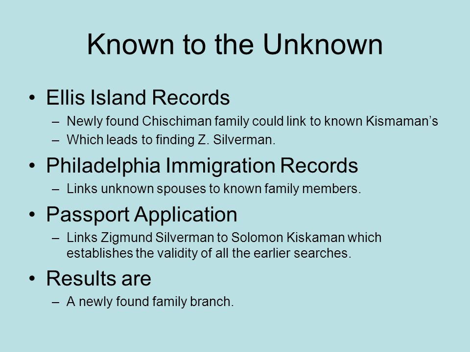 Known to the Unknown Ellis Island Records