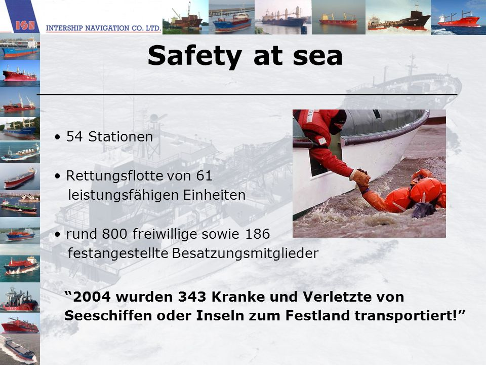 Safety at sea 54 Stationen Rettungsflotte von 61
