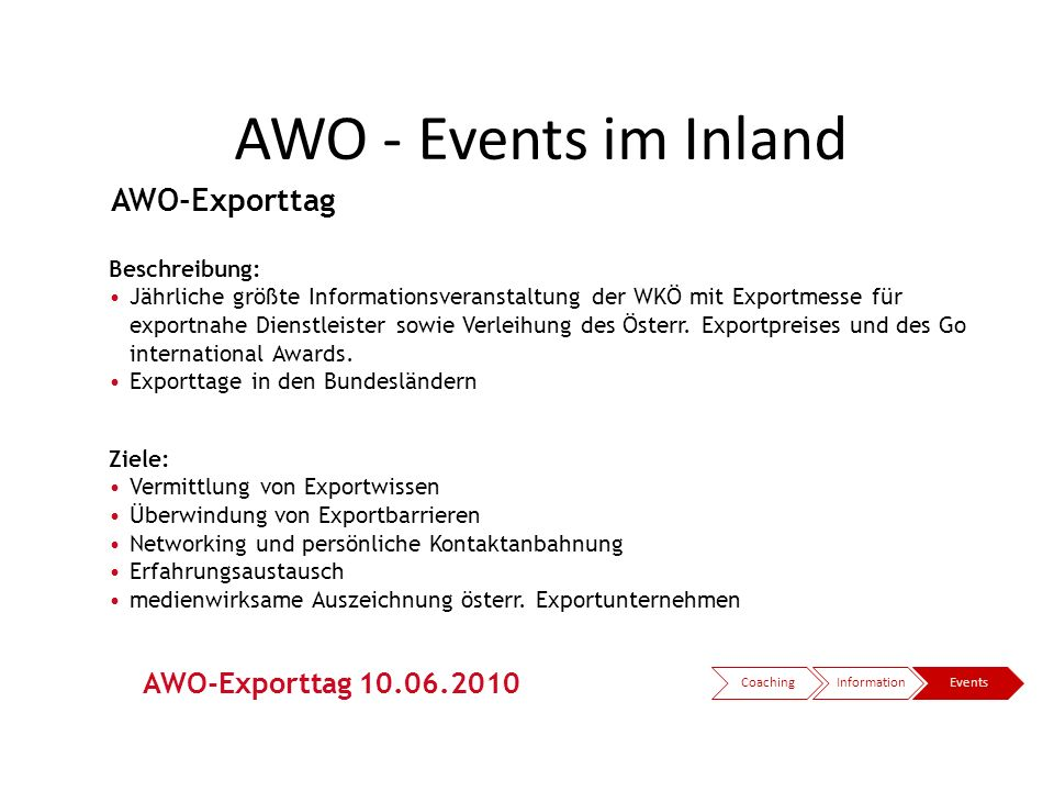 AWO - Events im Inland AWO-Exporttag AWO-Exporttag