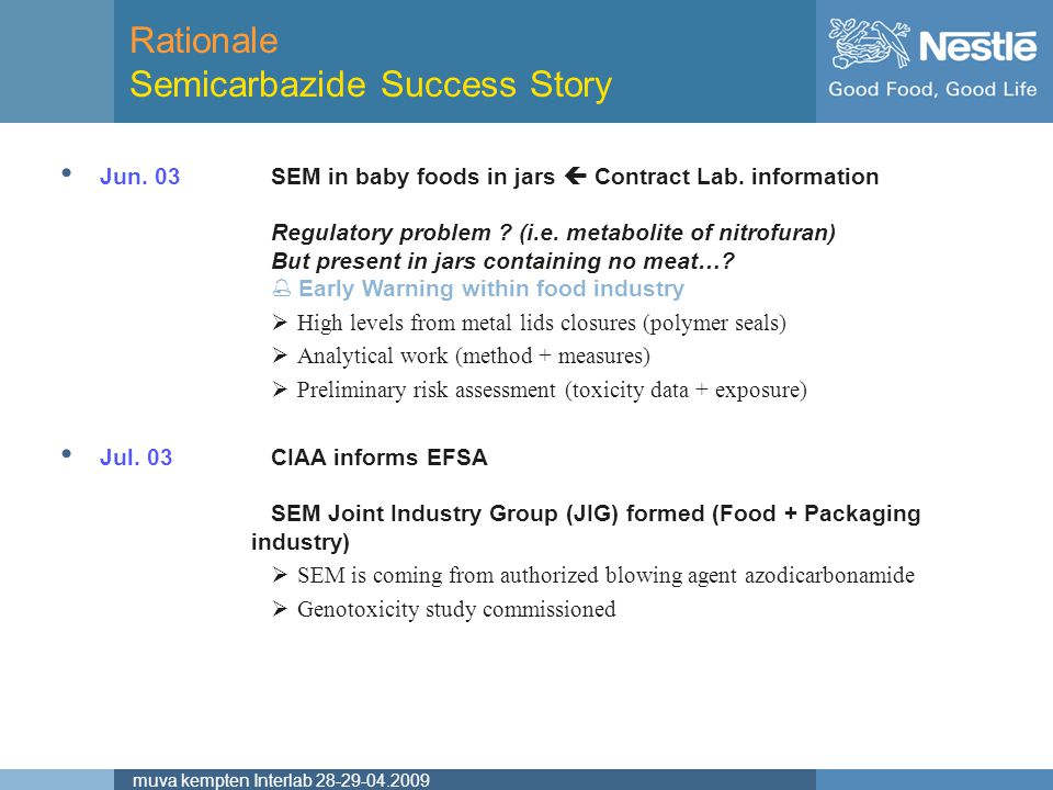 Rationale Semicarbazide Success Story
