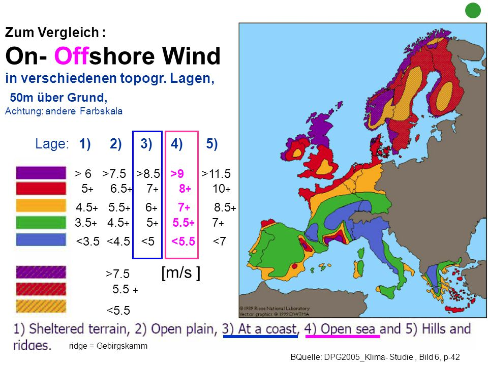 On- Offshore Wind <5.5 50m über Grund, 4.5+ 5.5+ 6+ 7+ 8.5+