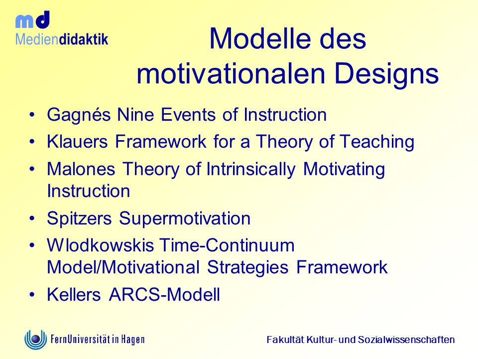 Modelle des motivationalen Designs