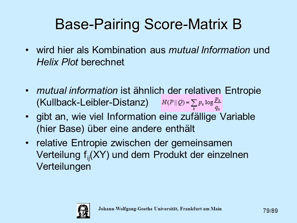 Base-Pairing Score-Matrix B