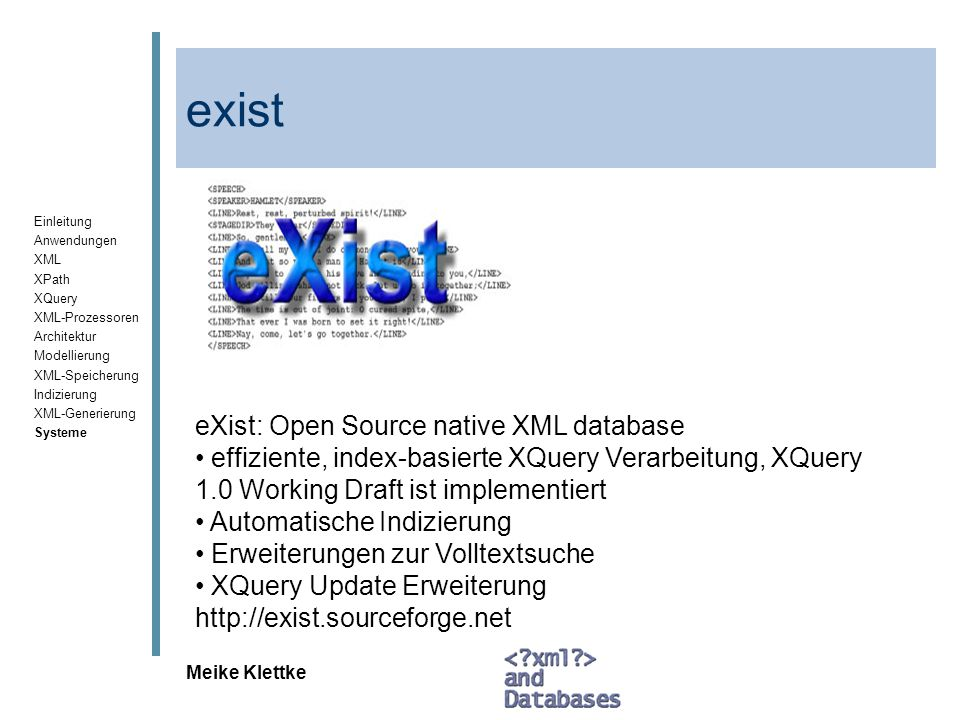 exist eXist: Open Source native XML database