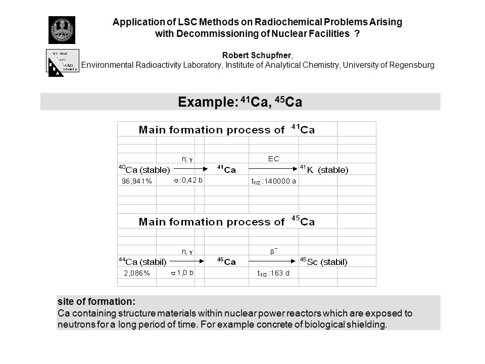 Application of LSC Methods on Radiochemical Problems Arising with Decommissioning of Nuclear Facilities Robert Schupfner, Environmental Radioactivity Laboratory, Institute of Analytical Chemistry, University of Regensburg