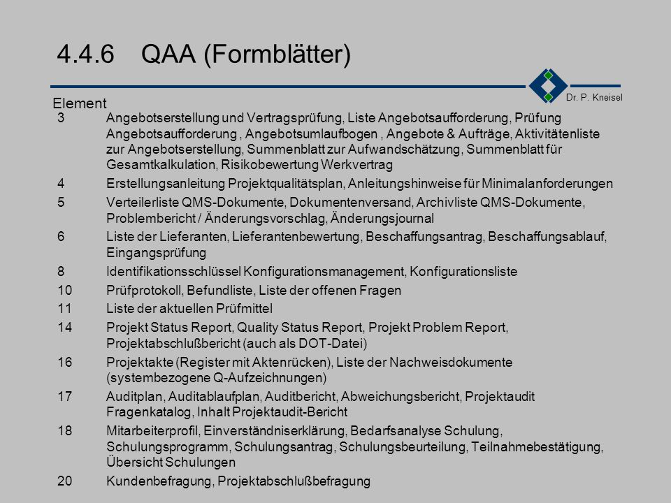 4.4.6 QAA (Formblätter) Element