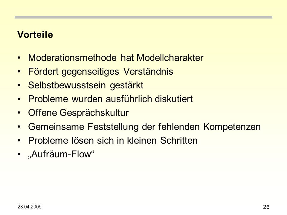 Moderationsmethode hat Modellcharakter