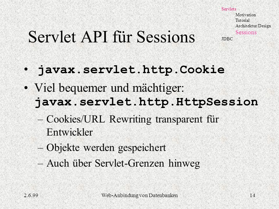 Servlet API für Sessions