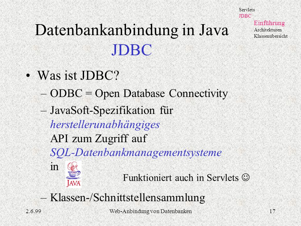 Datenbankanbindung in Java JDBC