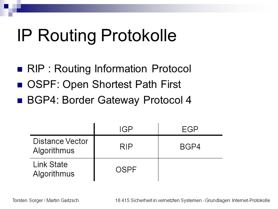 IP Routing Protokolle RIP : Routing Information Protocol