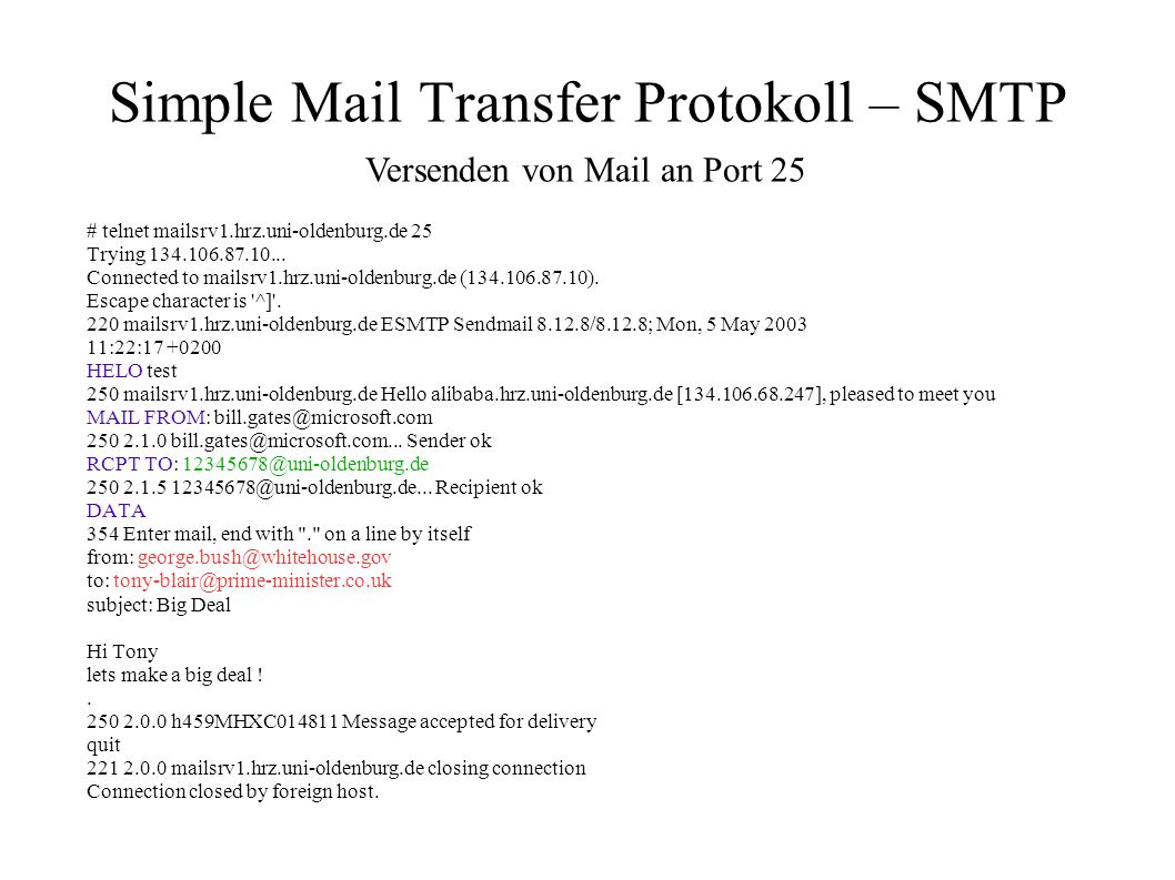 Simple Mail Transfer Protokoll – SMTP