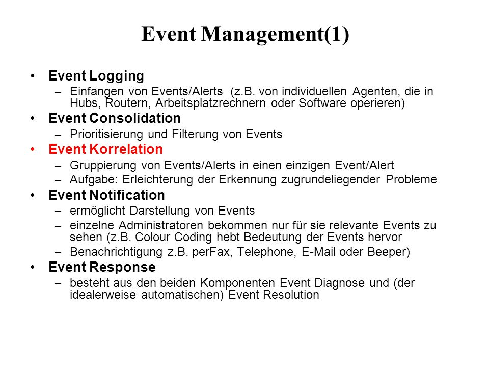 Event Management(1) Event Logging Event Consolidation