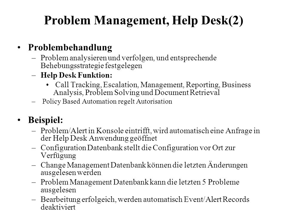 Problem Management, Help Desk(2)