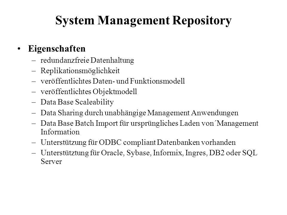 System Management Repository