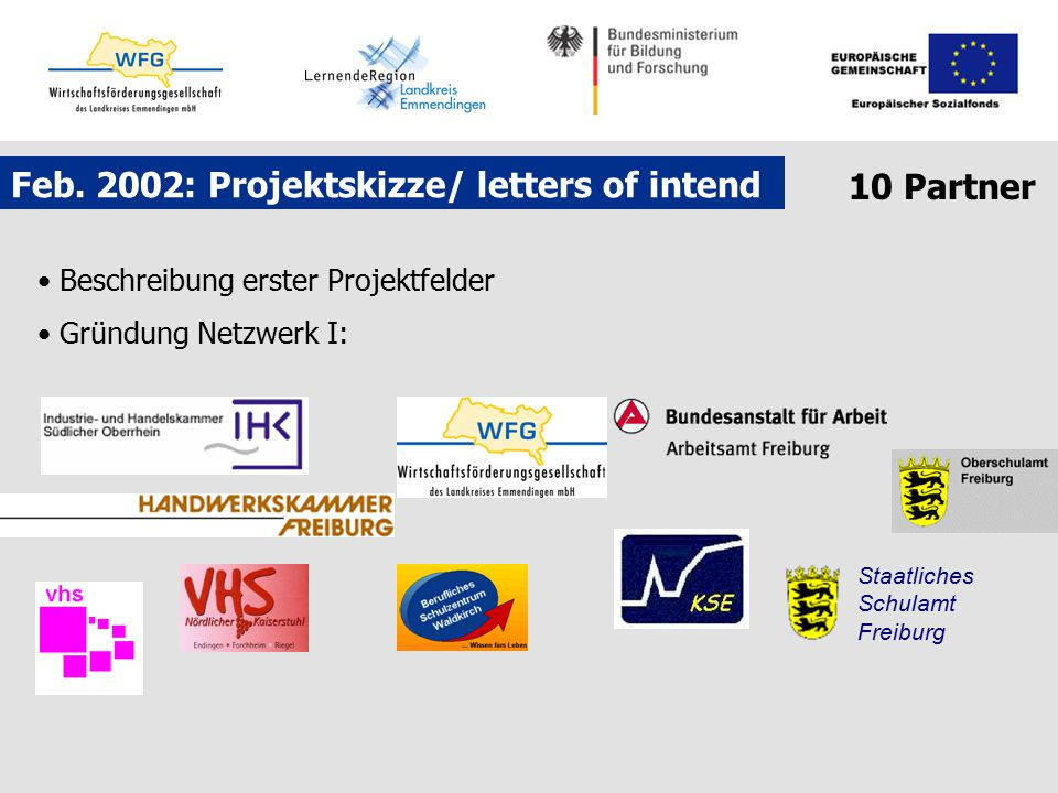 Feb. 2002: Projektskizze/ letters of intend