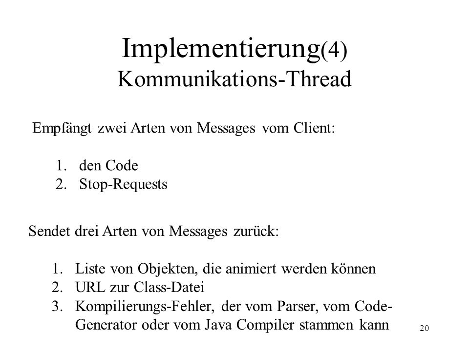 Implementierung(4) Kommunikations-Thread