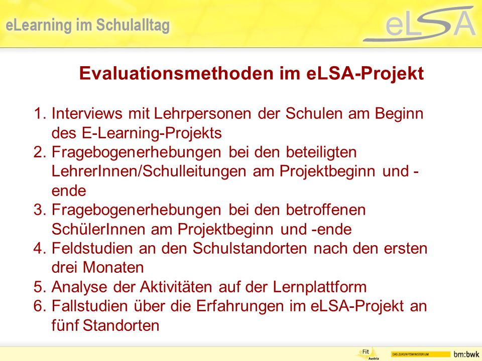 Evaluationsmethoden im eLSA-Projekt