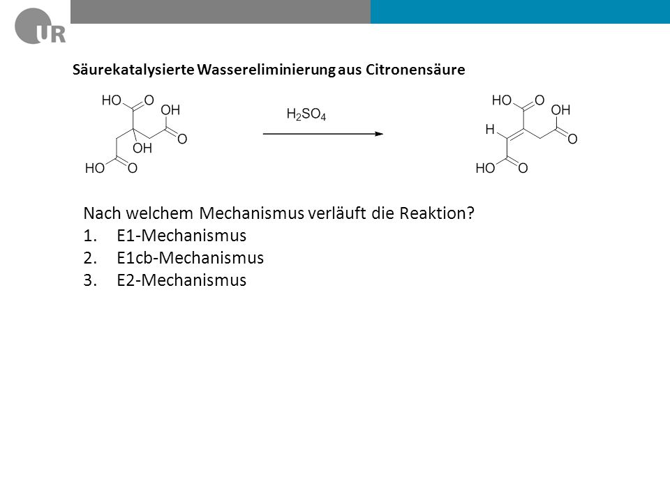 Nach welchem Mechanismus verläuft die Reaktion E1-Mechanismus