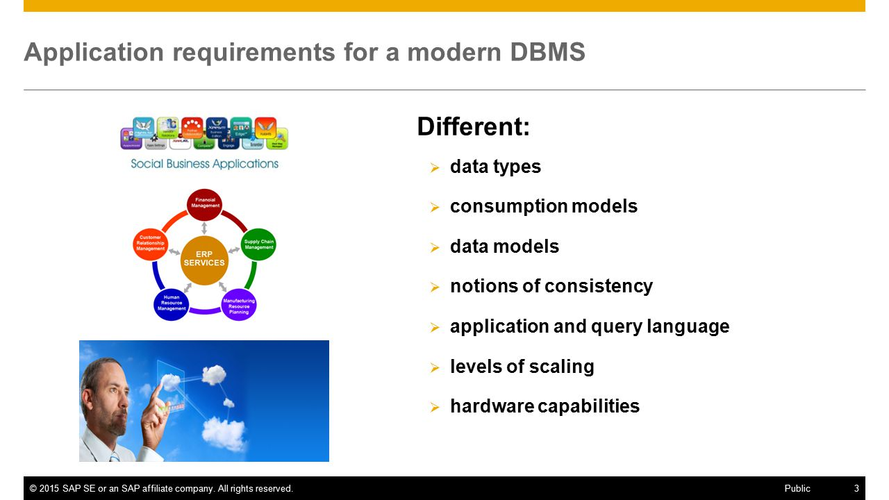 Application requirements for a modern DBMS