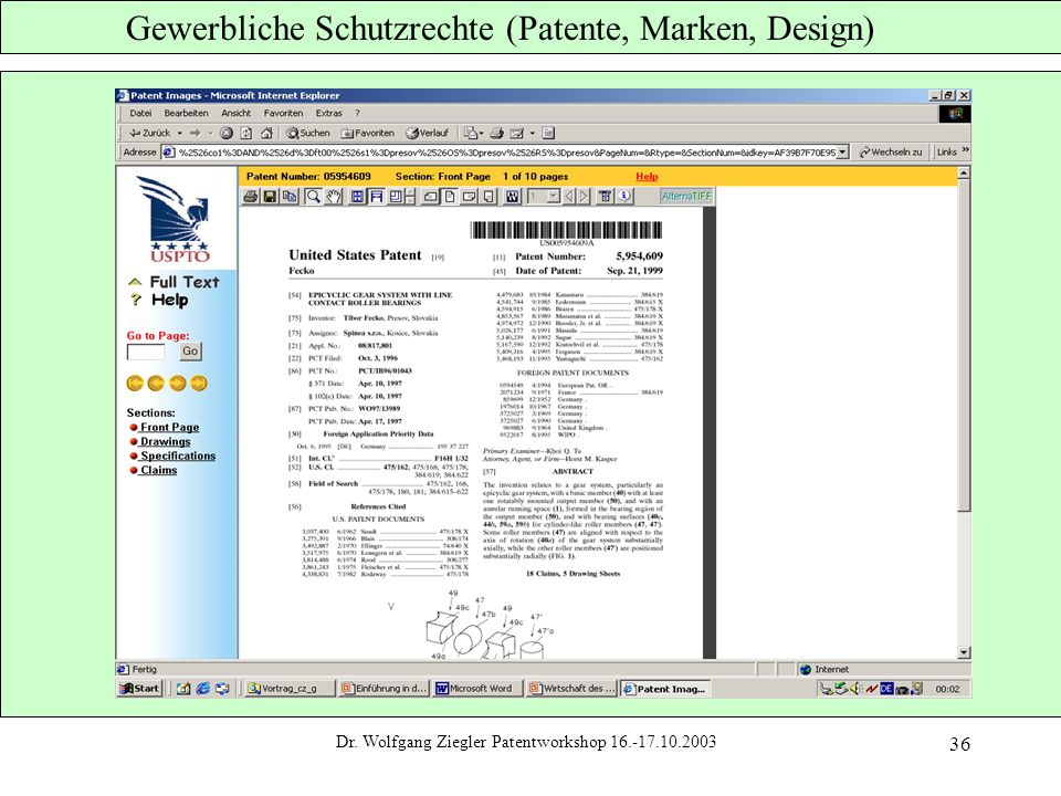 Dr. Wolfgang Ziegler Patentworkshop 16.-17.10.2003