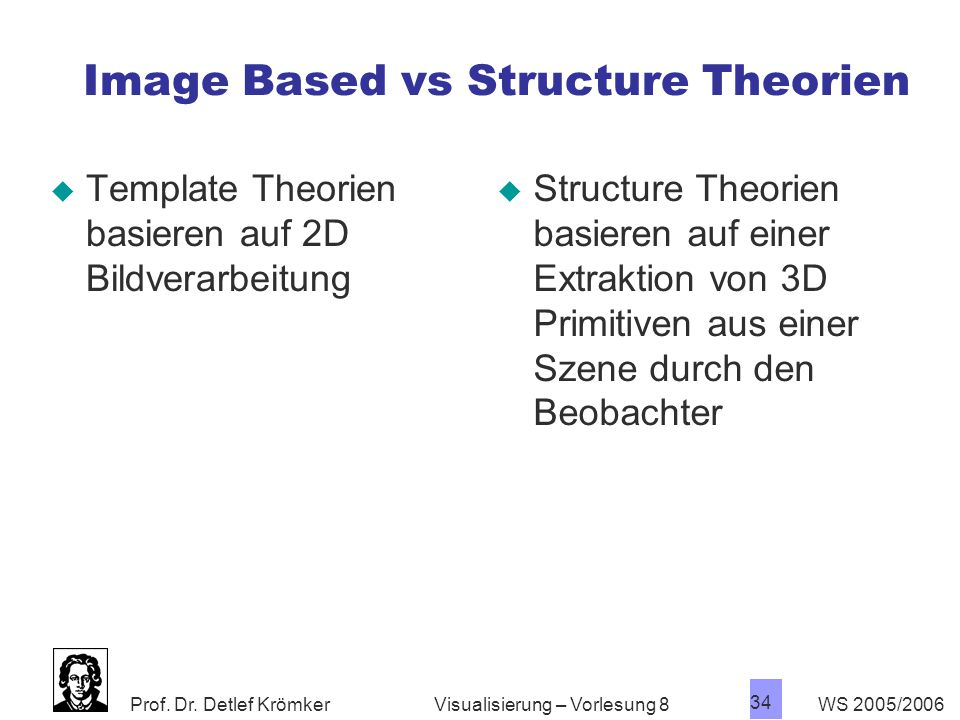 Image Based vs Structure Theorien