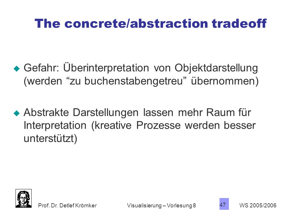 The concrete/abstraction tradeoff