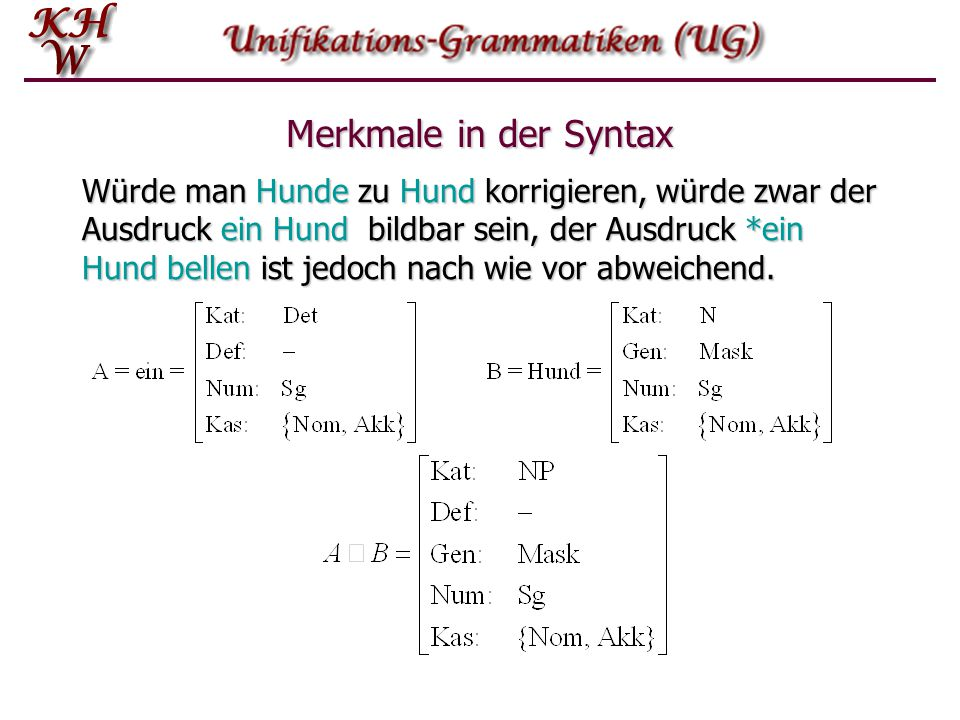 Merkmale in der Syntax